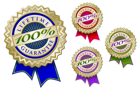 lifetime: Set of Four Colorful 100% Lifetime Guarantee Emblem Seals With Ribbons.
