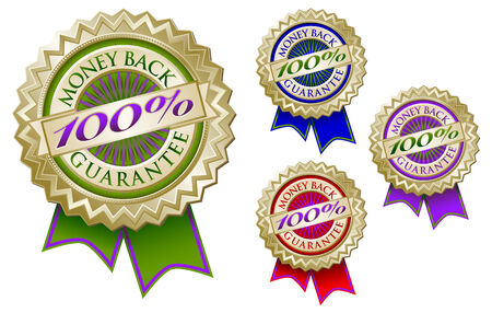 Set of Four Colorful 100% Money Back Guarantee Emblem Seals With Ribbons. Vector
