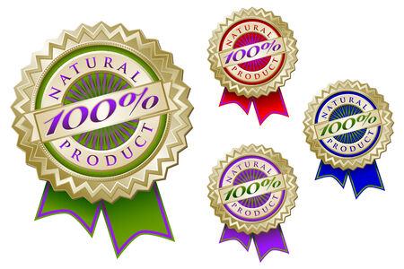 Set of Four Colorful 100% Natural Product Emblem Seals With Ribbons. Vector