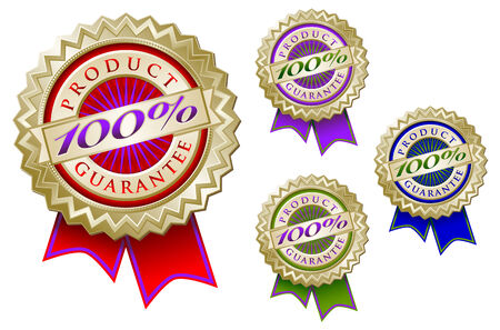 Set of Four Colorful 100% Product Guarantee Emblem Seals With Ribbons. Stock Vector - 4523352