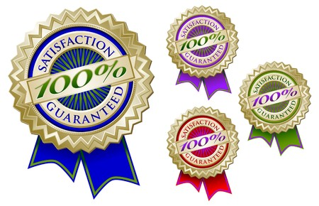 Set of Four Colorful 100% Satisfaction Guarantee Emblem Seals With Ribbons. photo