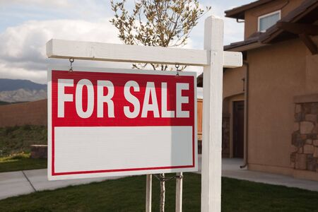 For Sale Real Estate Sign in Front of House Ready for Your Own Copy. Stock Photo - 4611238