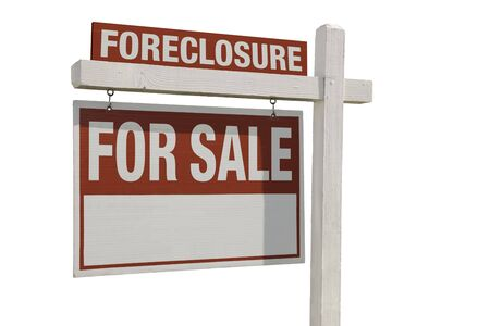 bank owned: Foreclosure Home For Sale Real Estate Sign Isolated on a White Background. Stock Photo