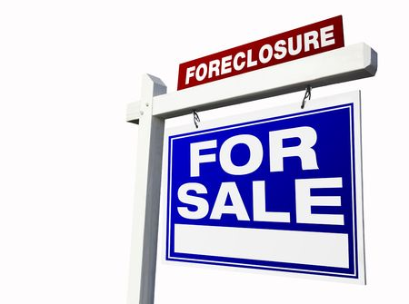 bank owned: Foreclosure For Sale Real Estate Sign Isolated on a White Background. Stock Photo
