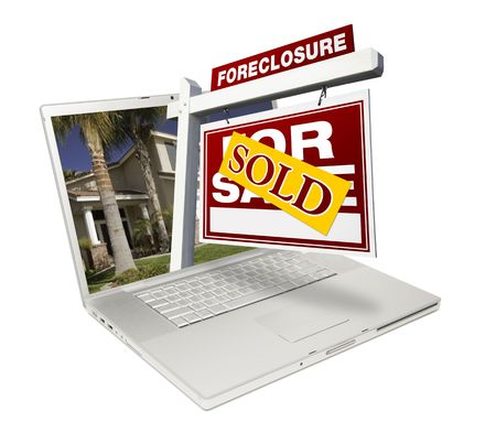 repo: Sold Foreclosure Home for Sale Real Estate Sign & Laptop Isolated on a White Background. Stock Photo