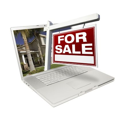 sold isolated: Home for Sale Sign & New Home on Laptop Isolated on a White Background.