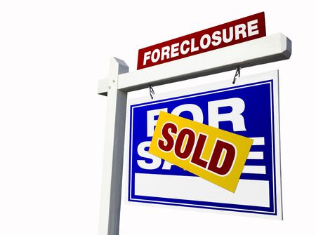 bank owned: Blue Sold Foreclosure Real Estate Sign Isolated on White.