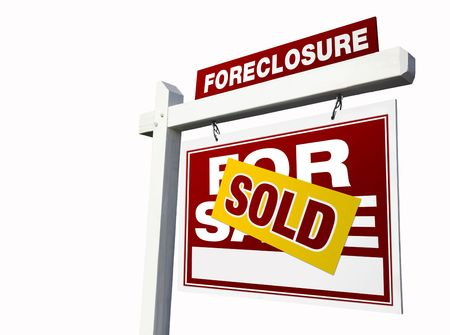 bank owned: Red Sold Foreclosure Real Estate Sign Isolated on White.