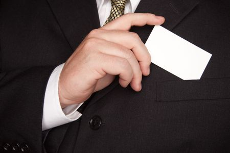 Businessman with Coat and Tie Holding Blank Business Card.