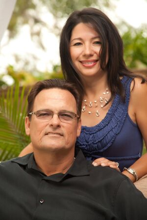 Happy Attractive Hispanic and Caucasian Couple Portrait. Stock Photo - 5021892