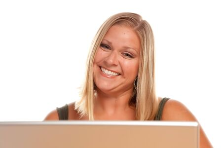 Smiling Beautiful Blonde Woman Using A Laptop. Stock Photo