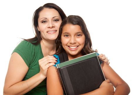 latino: Hispanic Mother and Daughter Ready for School Isolated on a White Background.