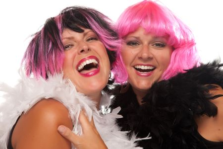 boas: Portrait of Two Pink And Black Haired Smiling Girls with Boas Isolated on a White Background.