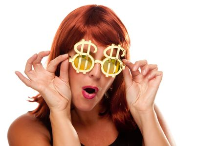 humor: Red Haired Girl with Bling-Bling Dollar Glasses Isolated on a White Background. Stock Photo