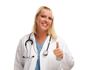 thumb's up: Friendly Female Blonde Doctor or Nurse with Thumbs Up Isolated on a White Background. Stock Photo