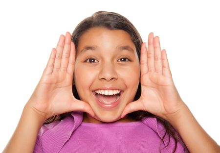 Pretty Hispanic Girl Framing Her Face with Hands Portrait Isolated on a White Background. photo