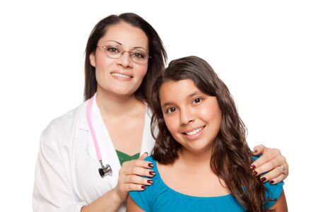 Pretty Hispanic Girl and Female Doctor Isolated on a White Background. 免版税图像