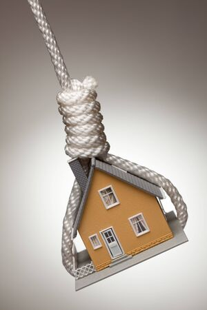 slipknot: House Tied Up and Hanging in Hangmans Noose. Stock Photo