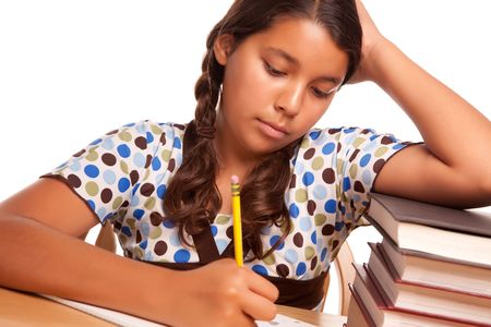 Pretty Hispanic Girl Studying Isolated on a White Background.
