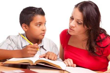 writing activity: Attractive Hispanic Mother and Son Studying Isolated on a White Background.
