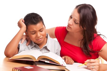 elementary students: Attractive Hispanic Mother and Son Studying Isolated on a White Background.
