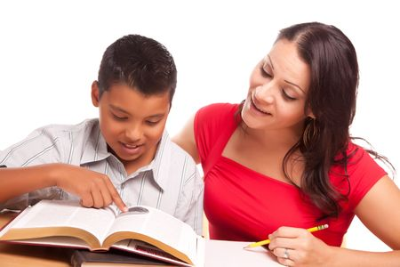 Attractive Hispanic Mother and Son Studying Isolated on a White Background. Stock Photo - 5252777