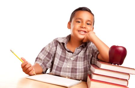 Adorable Hispanic Boy with Books, Apple, Pencil and Paper Isolated on a White Background. Stock Photo - 5252810