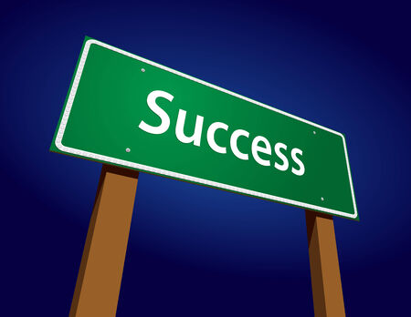 dramatic: Success Road Sign Illustration with Dramatic Blue Background. Illustration
