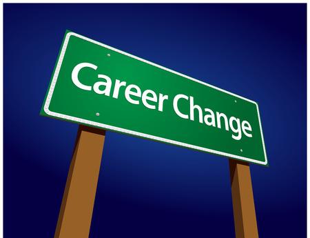 Career Change Green Road Sign Illustratie op een stralende blauwe achtergrond.
