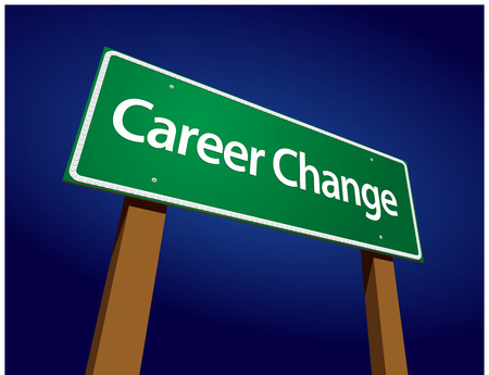 speciality: Career Change Green Road Sign Illustration on a Radiant Blue Background.