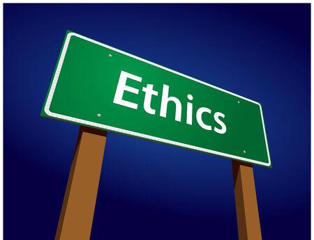 Ethics Green Road Sign Illustration on a Radiant Blue Background.