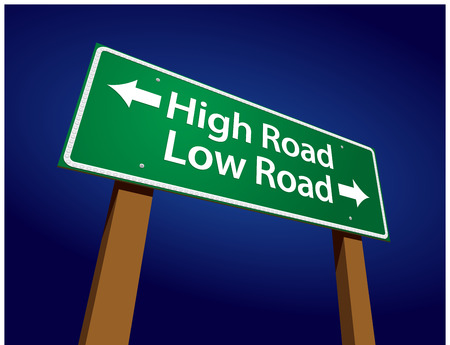 righteous: High Road, Low Road Green Road Sign Illustration on a Radiant Blue Background. Illustration