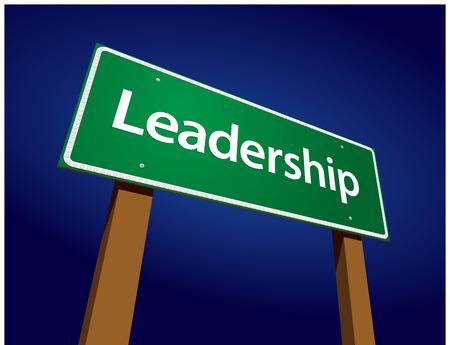 sway: Leadership Green Road Sign Illustration on a Radiant Blue Background.