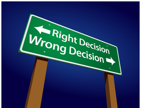 guidepost: Right Decision, Wrong Decision Green Road Sign Illustration on a Radiant Blue Background.