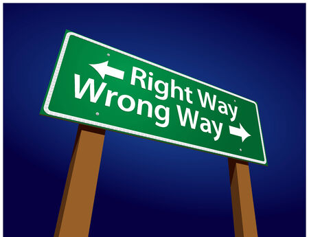 incorrect: Right Way, Wrong Way Green Road Sign Illustration on a Radiant Blue Background.