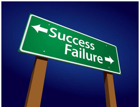 성공, 실패 녹색 도로 기호 그림 빛나는 파란색 배경. 일러스트