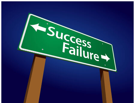 Success, Failure Green Road Sign Illustration on a Radiant Blue Background. Vector