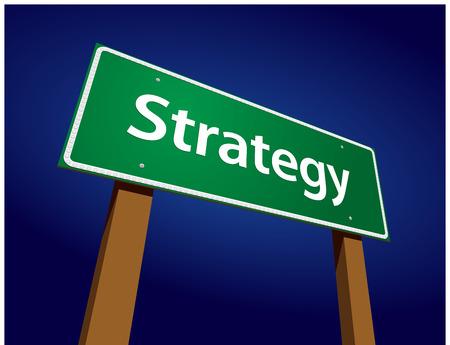 tactics: Strategy Green Road Sign Illustration on a Radiant Blue Background. Illustration