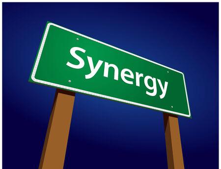 synergie: Synergy Green Road Anmelden Illustration auf einer strahlenden blauen Hintergrund.