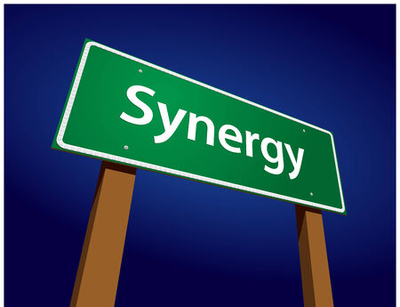 symbiosis: Synergy Green Road Sign Illustration on a Radiant Blue Background.