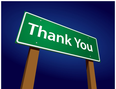 Thank You Green Road Sign Illustration on a Radiant Blue Background.