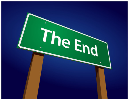 the end: The End Green Road Sign Illustration on a Radiant Blue Background. Illustration