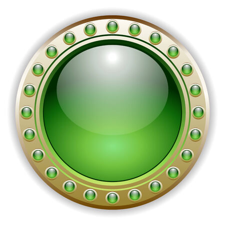 Ornate Detailed Green Glossy Vector Button Illustration. Vector
