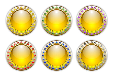 Ornate Yellow Vector Glossy Button Set with 6 Color Combinations of the Outer Ring Elements. Stock Vector - 5350609