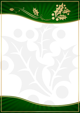 Exotic Green Holly Adorned Gift Card or Label with Room For Your Own Text. Vector