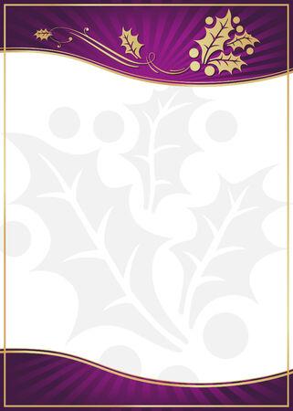 이국적인 보라색 홀리 장식 된 선물 카드 또는 자신 만 텍스트에 대 한 방 레이블. 일러스트