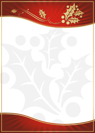 Exotic Red Holly Adorned Gift Card or Label with Room For Your Own Text. Vector