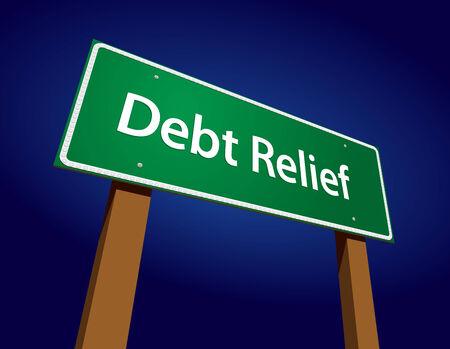 빚: Debt Relief Green Road Sign Vector Illustration on a Radiant Blue Background.