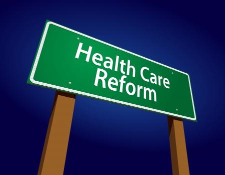 Gezondheidszorghervorming Green Road Sign Vector Illustration op een stralende blauwe achtergrond. Stock Illustratie