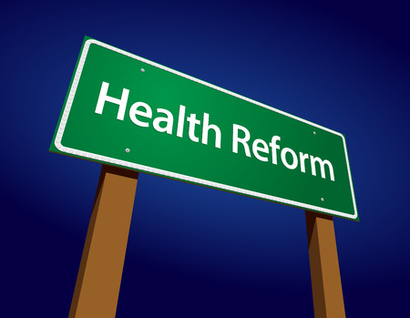 Health Reform Green Road Sign Vector Illustration on a Radiant Blue Background. Vettoriali